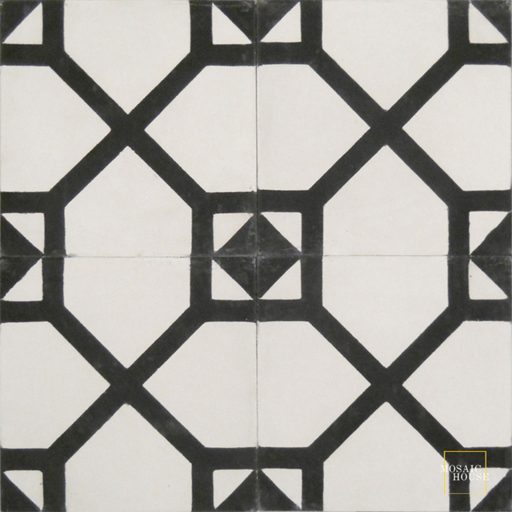 Mosaic House Moroccan tile Bordeaux C14-4 White Black  cement, encaustic, field, pattern simple classic