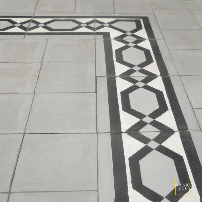 Mosaic House Moroccan tile Dfira Border 8x8 C14-24-4 White Silver, gray Black  cement, encaustic, border, traditional, classic