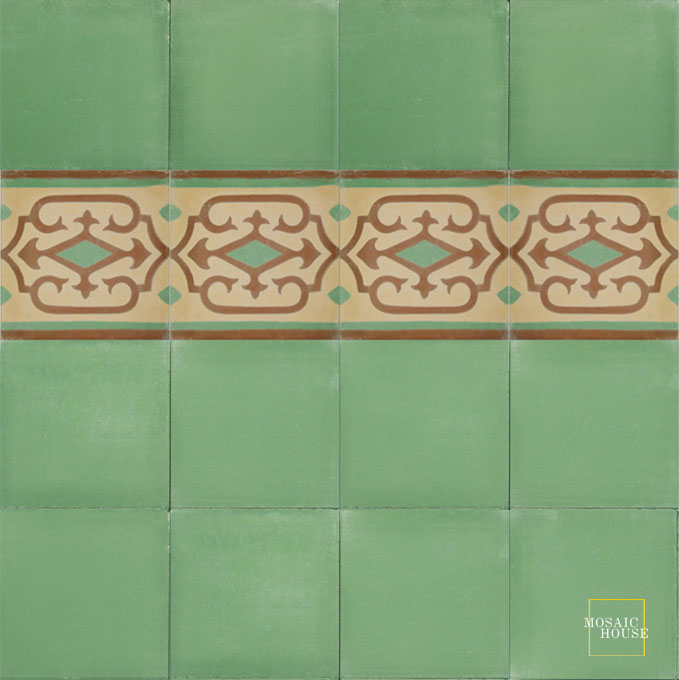 Mosaic House Moroccan tile Vitis Border C31-26-27 Almond, tan, beige Brown Green  cement, encaustic, border