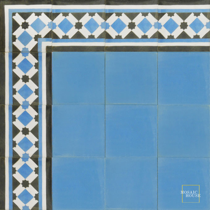 Anemone Border C14-4-6 - moroccan cement tile