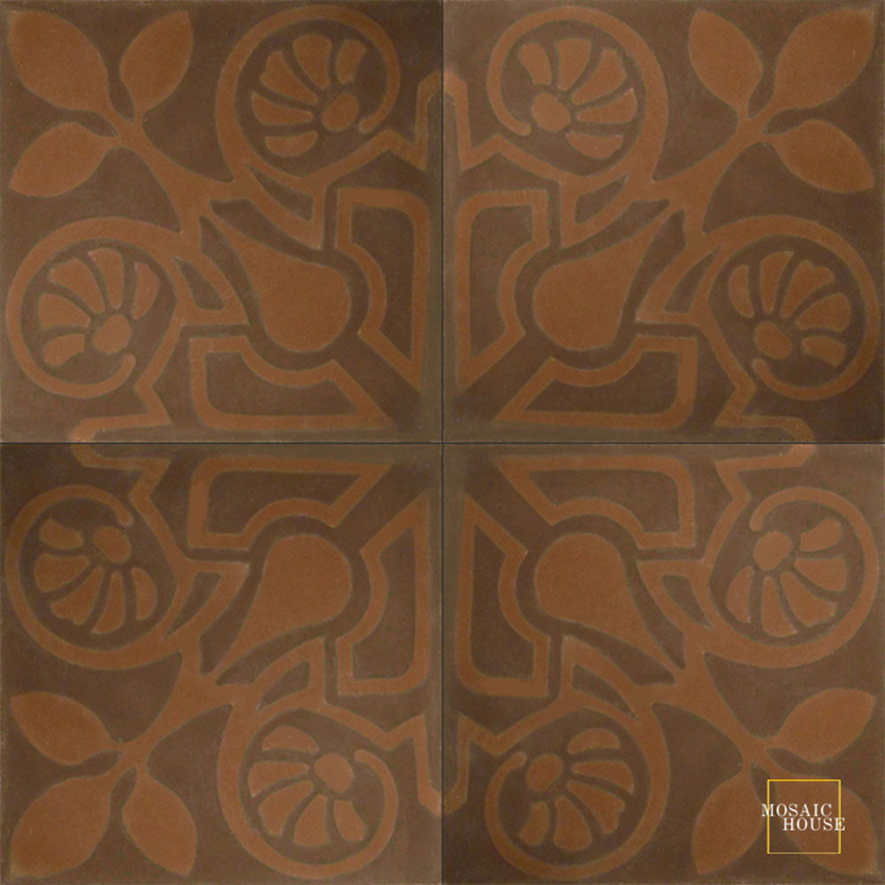 Mosaic House Moroccan tile Brooklyn C5-26 Chocolate, brown Brown  cement, encaustic, field, pattern