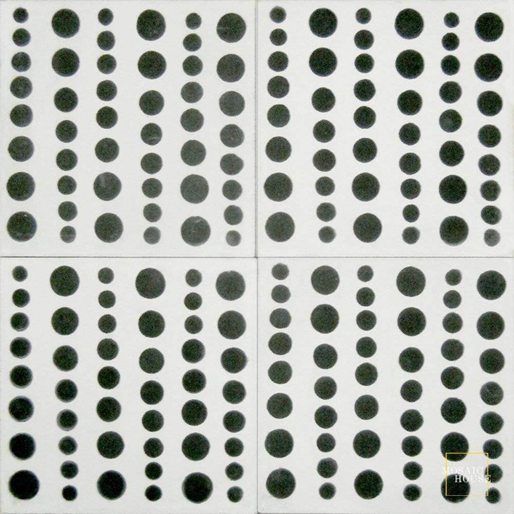 Mosaic House Moroccan tile Bubbles C14-4 White Black  cement, encaustic, field, pattern simple modern circles