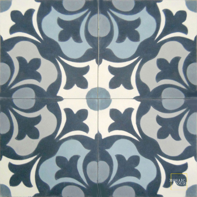 Mosaic House Moroccan tile Chelsea Blues C14-41-33-24-29 White Midnight Blue Gray Silver, gray Azur Blue  cement, encaustic, field, pattern floral