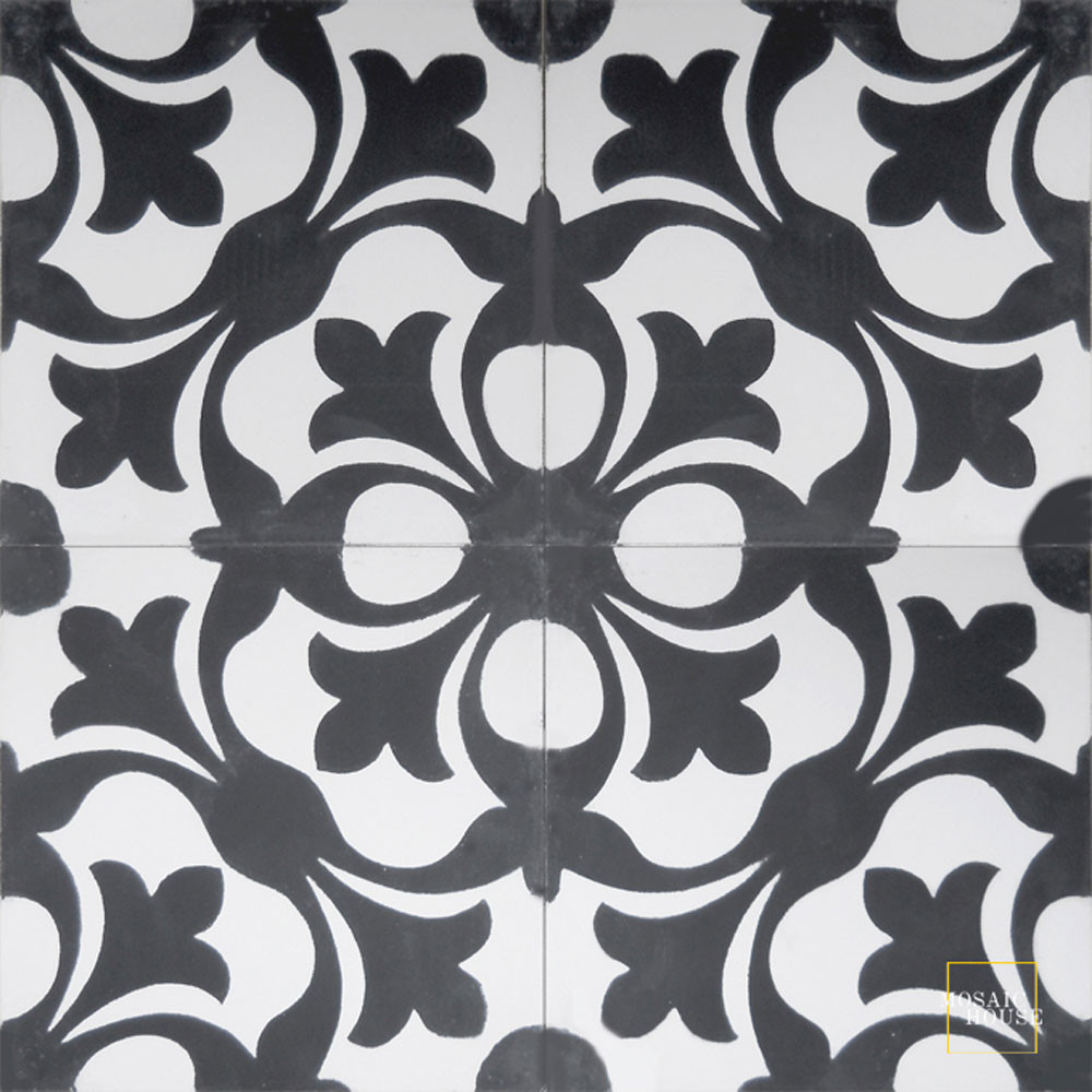 Mosaic House Moroccan tile Chelsea C14-4 White Black  cement, encaustic, field, pattern
