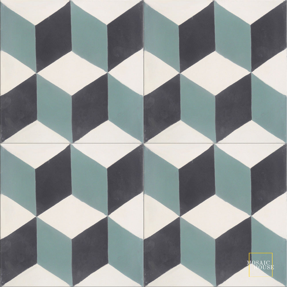 Mosaic House Moroccan tile Cubes C14-4-13 White Black Evergreen  cement, encaustic, field, pattern