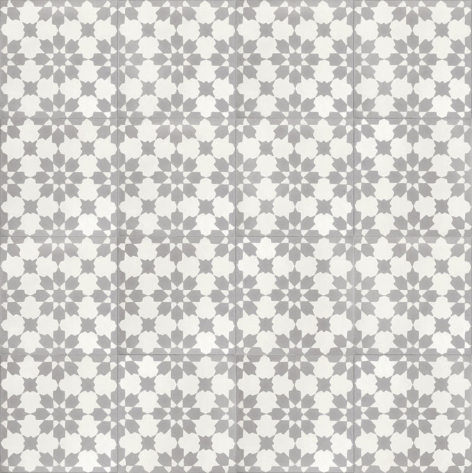 Mosaic House Moroccan tile Fassia C14-24 White Silver, gray  cement, encaustic, field, pattern