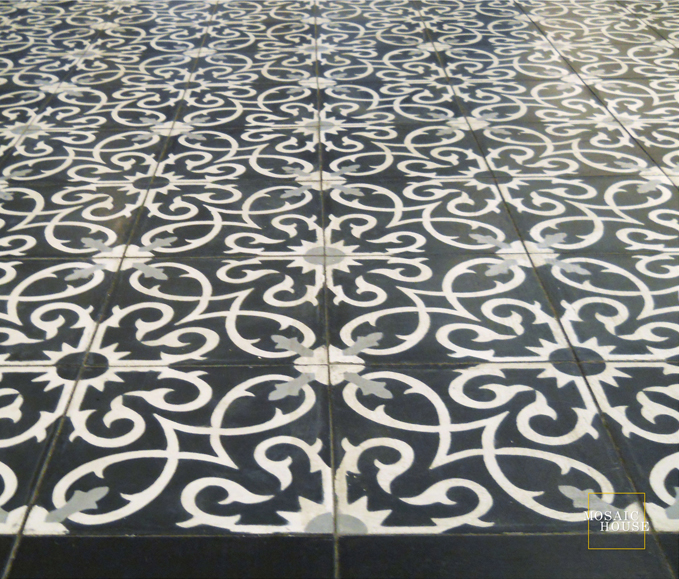 Mosaic House Moroccan tile Lucifer C4-14-24 Black White Silver, gray  cement, encaustic, field, pattern, floral bold
