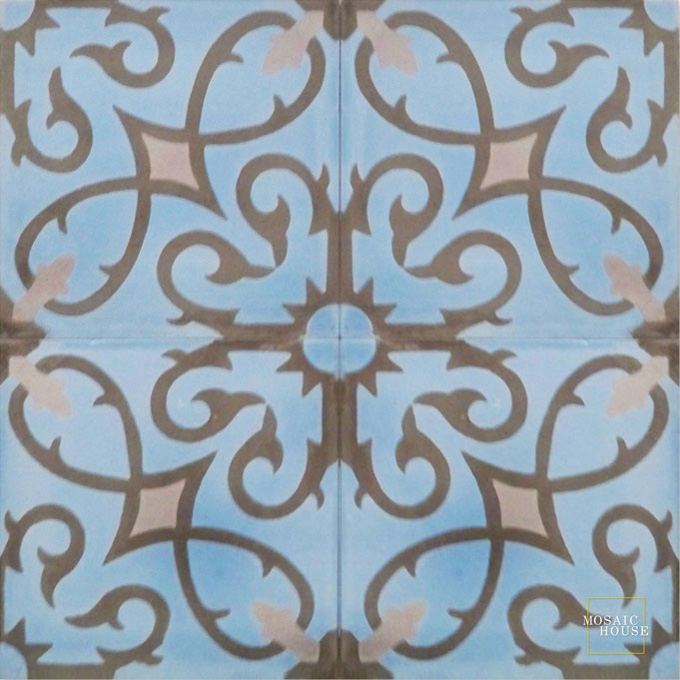 Mosaic House Moroccan tile Lucifer C6-5-12 Pacific Blue Chocolate, brown Winter Violet, purple  cement, encaustic, field, pattern