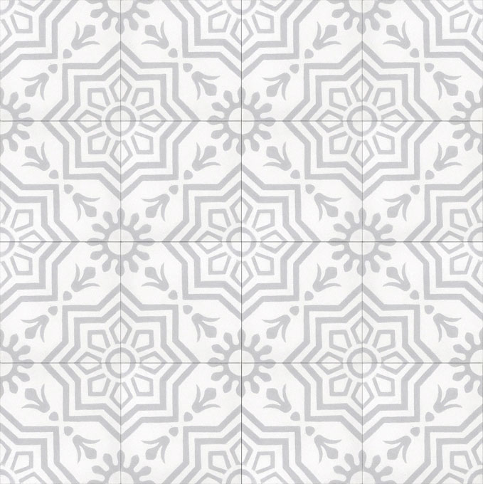 Mosaic House Moroccan tile Madera C14-24 White Silver, gray  cement, encaustic, field, pattern