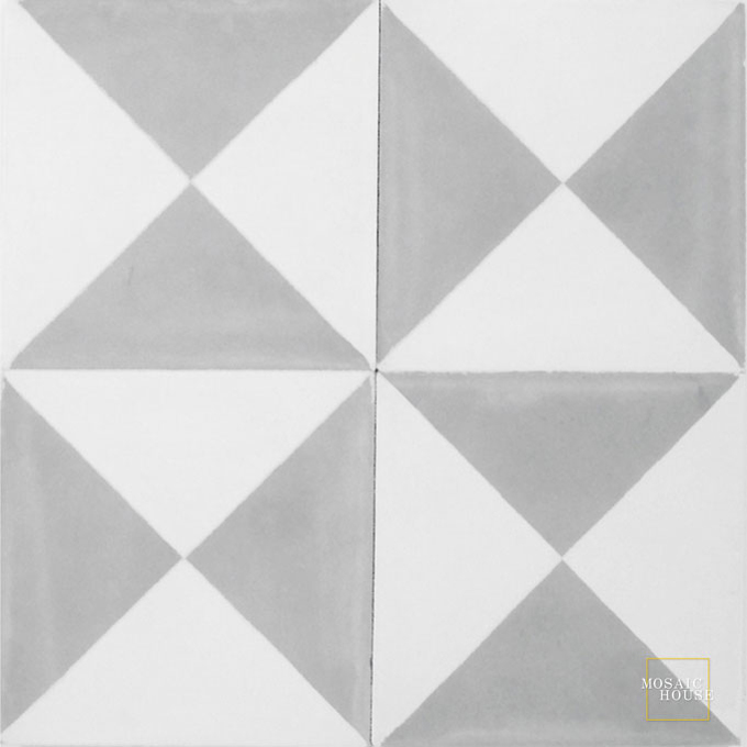 Mosaic House Moroccan tile Mariposa C14-24 White Silver, gray  cement, encaustic, field, pattern, simple, geometric, classic