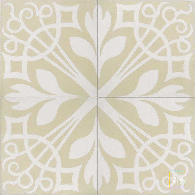 Mosaic House Moroccan tile NYNY C42-14 Vanilla, gray White  cement, encaustic, field, pattern