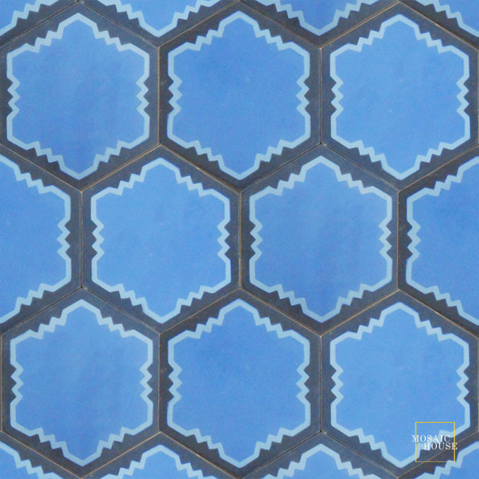 Mosaic House Moroccan tile Parisienne Art C11-6-43 Blue Pacific Blue Indigo, blue  cement, encaustic, field, pattern