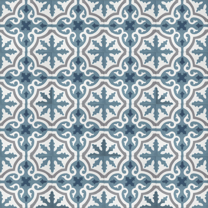 Mosaic House Moroccan tile Rosa C29-14-33-41 Azur Blue White Gray Midnight Blue  cement, encaustic, field, pattern, floral, classic, traditional