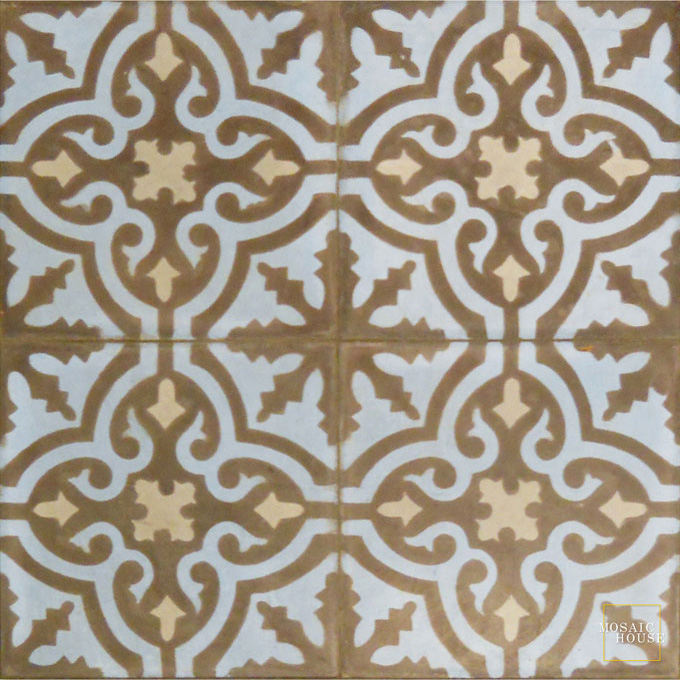 Mosaic House Moroccan tile Rosa C5-6-24 Chocolate, brown Pacific Blue Silver, gray  cement, encaustic, field, pattern