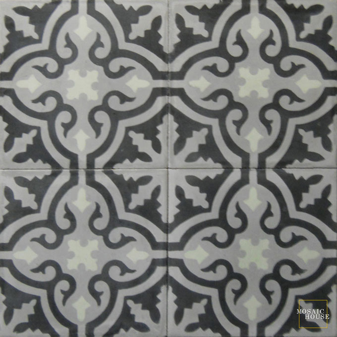 Mosaic House Moroccan tile Rosa C24-4-16 Silver, gray Black Pale Jade, green  cement, encaustic, field, pattern