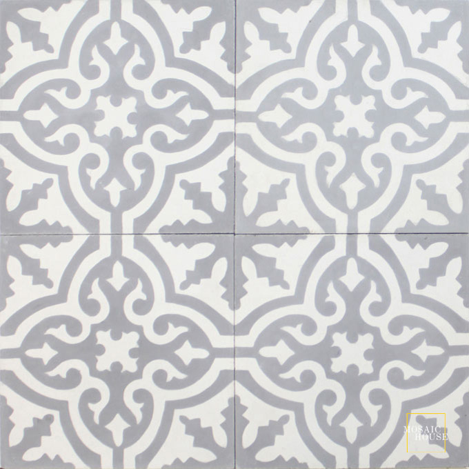 Mosaic House Moroccan tile Rosa C24-14 Silver, gray White  cement, encaustic, field, pattern