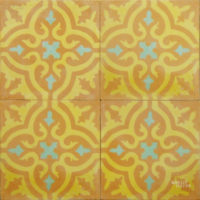 Mosaic House Moroccan tile Rosa C28-15-8 Desert Sand, orange Ochre, yellow, orange Pistachio, green  cement, encaustic, field, pattern