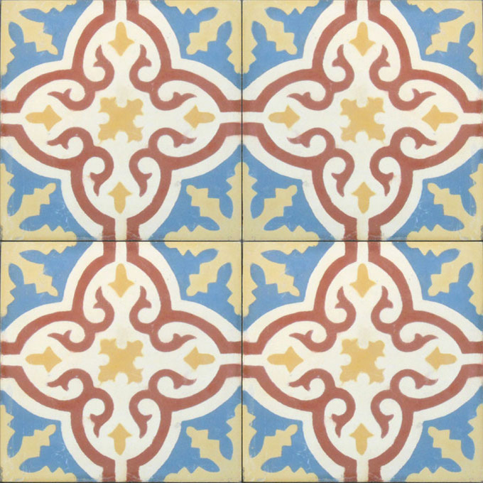 Mosaic House Moroccan tile Rosa C29-10-14-15 Azur Blue Brick Red White Ochre, yellow, orange  cement, encaustic, field, pattern