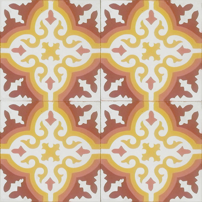 Mosaic House Moroccan tile Rosa C14-19-10-15 White Cotta, pink Brick Red Ochre, yellow, orange  cement, encaustic, field, pattern
