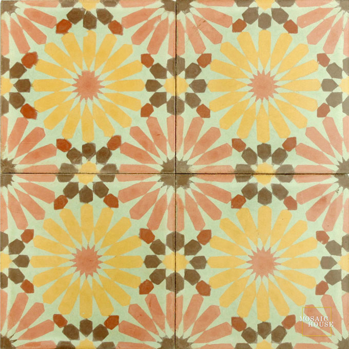 Mosaic House Moroccan tile Rugosa Fire C25-15-16-5-10 Indian Red Ochre, yellow, orange Pale Jade, green Chocolate, brown Brick Red  cement, encaustic, field, pattern