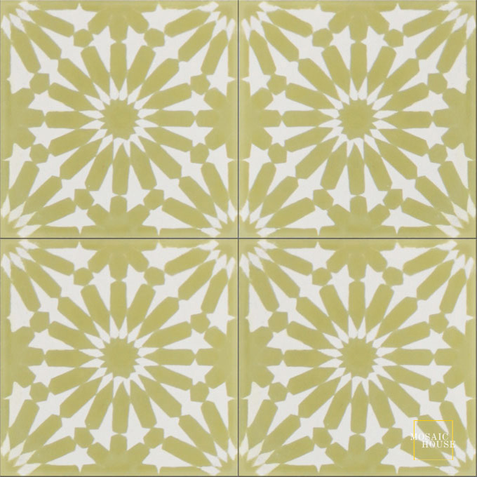 Mosaic House Moroccan tile Rugosa C14-37 White Lime Green  cement, encaustic, field, pattern