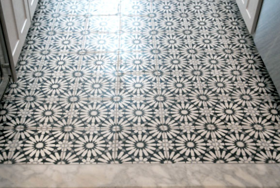Mosaic House Moroccan tile Rugosa C14-4-24 White Black Silver, gray  cement, encaustic, field, pattern