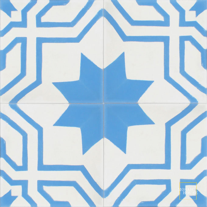 Mosaic House Moroccan tile Salvia C14-11 White Blue  cement, encaustic, field, pattern, traditional, stars