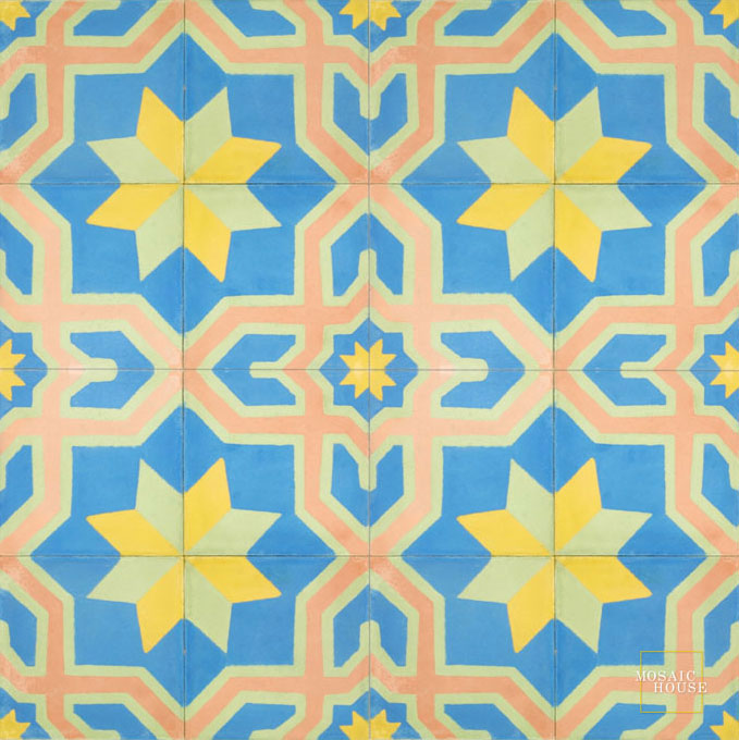 Mosaic House Moroccan tile Salvia C11-16-15-21 Blue Pale Jade, green Ochre, yellow, orange Pale Salmon, pink  cement, encaustic, field, pattern