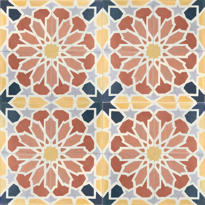 Mosaic House Moroccan tile Scabiosa C25-10-14-15-41-24 Indian Red Brick Red White Ochre, yellow, orange Midnight Blue Silver, gray  cement, encaustic, field, pattern
