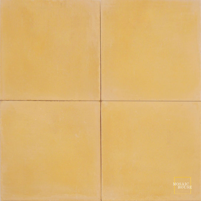 Mosaic House Moroccan tile C15 8x8 Ochre Ochre, yellow, orange  solid cement, encaustic, loose, size