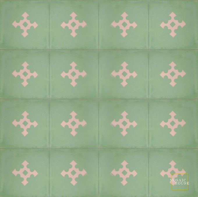 Mosaic House Moroccan tile Stipa C30-20 Spring Green Bisque, pink  cement, encaustic, field, pattern