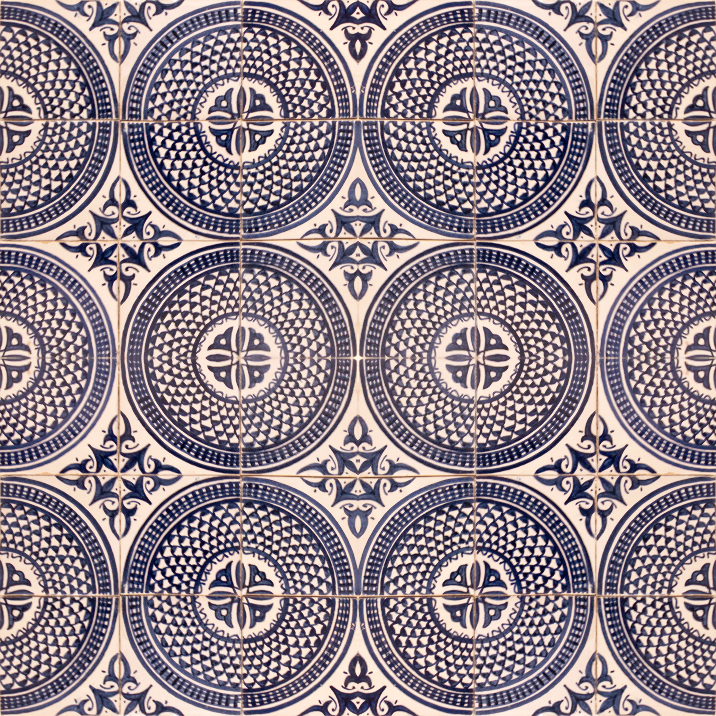 Mosaic House Moroccan tile Dahlia 1-15 White Cobalt Blue  hand painted