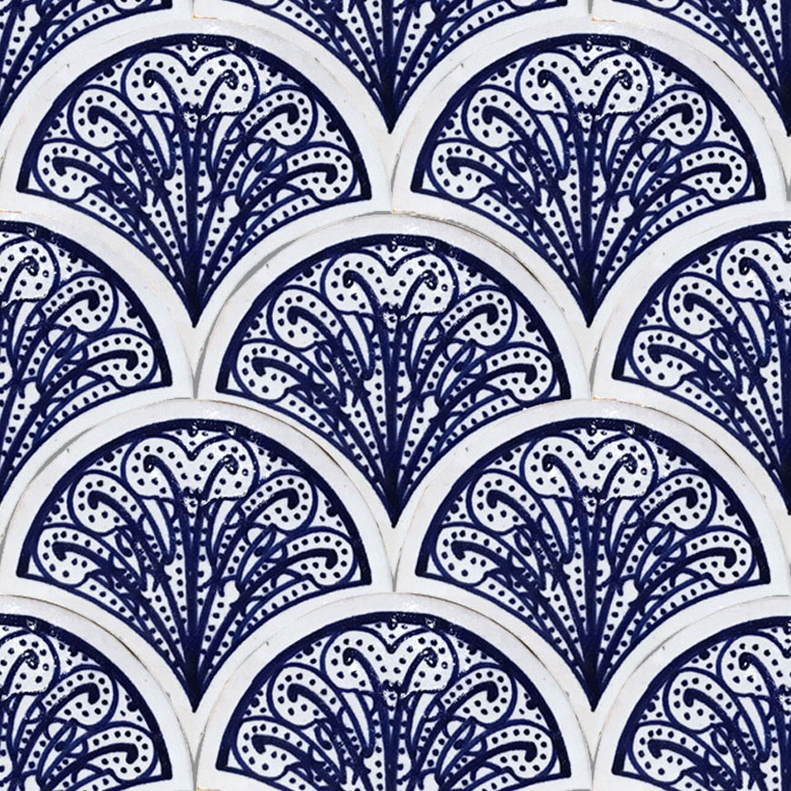 Mosaic House Moroccan tile Susie 1-15 White Cobalt Blue  hand painted