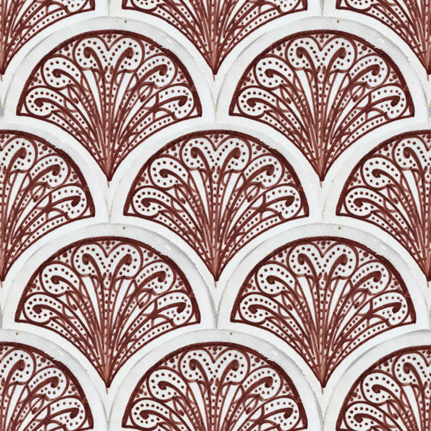 Mosaic House Moroccan tile Susie 1-7 White Red  hand painted
