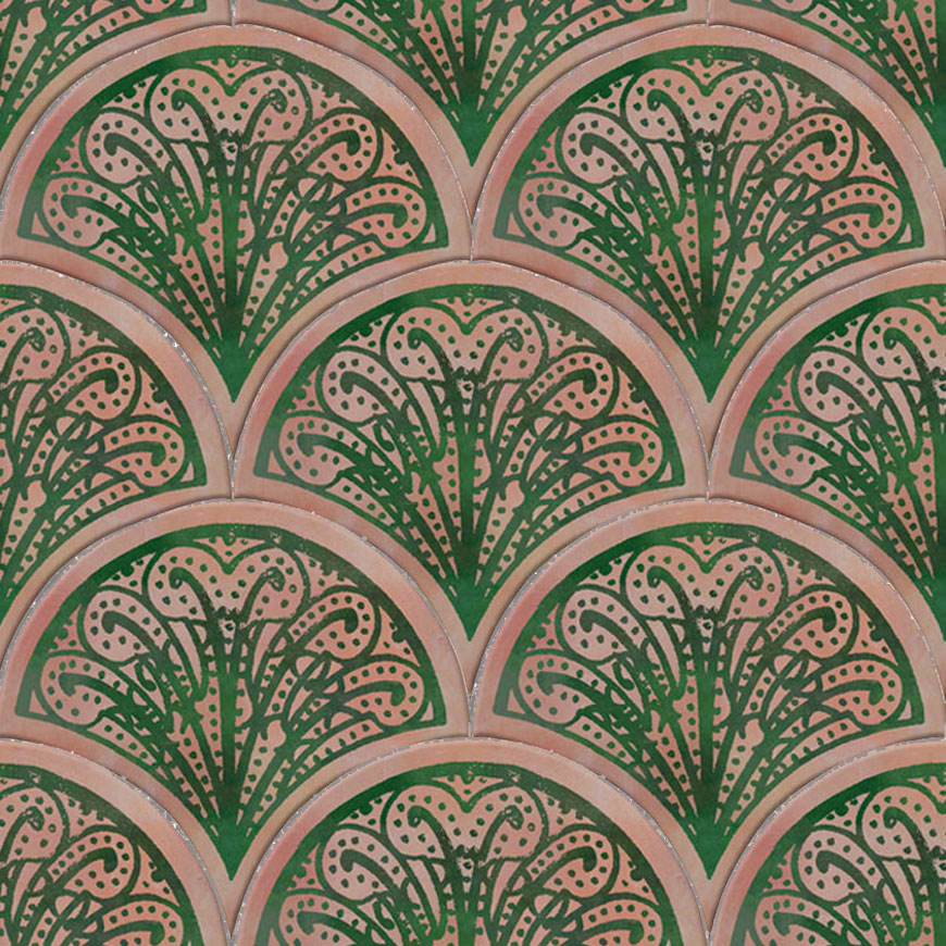 Mosaic House Moroccan tile Susie 21-10 Pink Green  hand painted