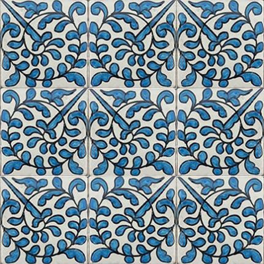 Mosaic House Moroccan tile Neptune 1-2 White Light Blue  hand painted