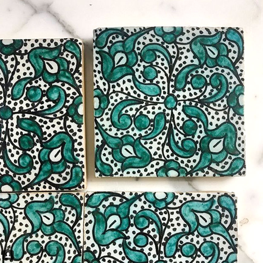 Mosaic House Moroccan tile Olea 1-10 White Green  hand painted