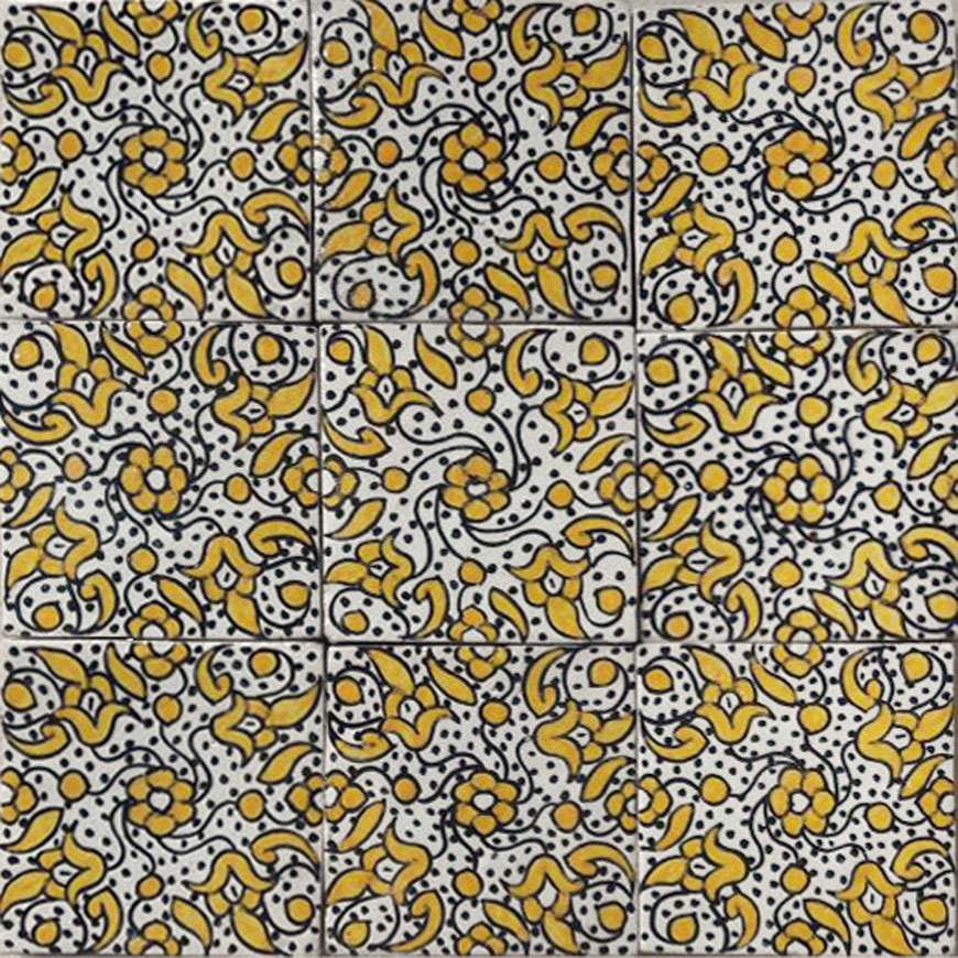 Mosaic House Moroccan tile Shadia 1-18 White Yellow  hand painted