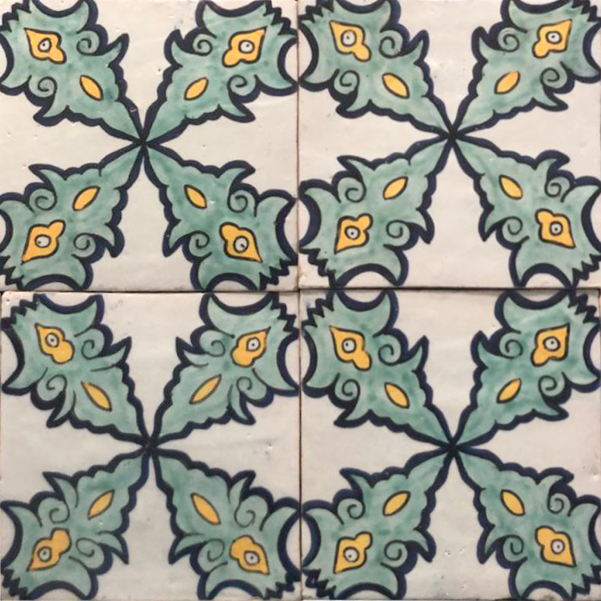 Mosaic House Moroccan tile Petale Multi   solid hand painted