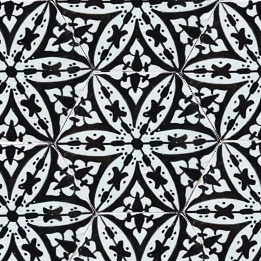 Mosaic House Moroccan tile Pigalle Hex 1-6 White Black  hand painted
