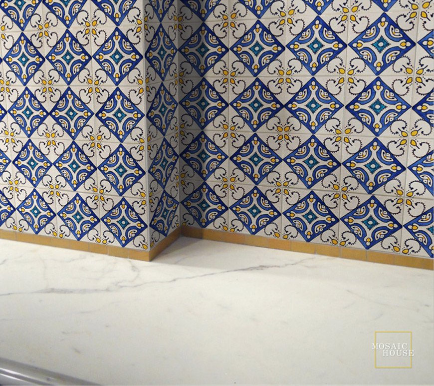 Mosaic House Moroccan tile Rivoli Multi   solid hand painted