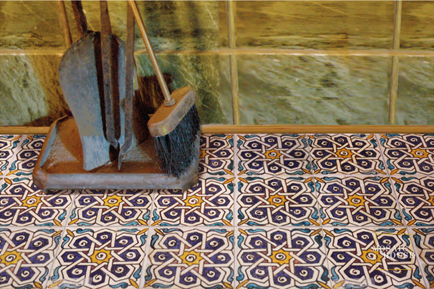 Mosaic House Moroccan tile Soiree Multi 1-15-13-18-7 White Cobalt Blue Light Turquoise Yellow Red  hand painted handpainted