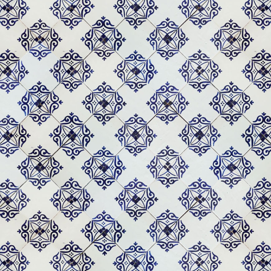Mosaic House Moroccan tile Adwa 1-15 White Cobalt Blue  hand painted