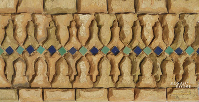 Mosaic House Moroccan tile Ank RV 15-12 Cobalt Blue Light Green  zellige, mosaic, zellij, border, glaze