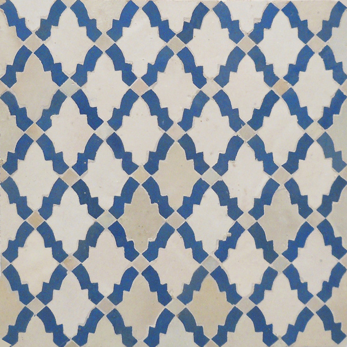 Mosaic House Moroccan tile Darj 1-2 White Light Blue  zellige, mosaic, zellij, field, pattern, glaze
