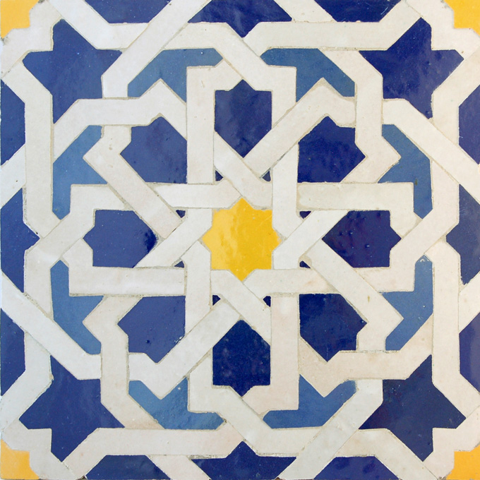 Mosaic House Moroccan tile Metam LG 15-1-18-2 Cobalt Blue White Yellow Light Blue  zellige, mosaic, zellij, field, pattern, glaze
