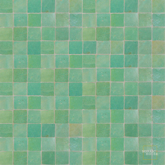 Mosaic House Moroccan tile Rceef 12 Light Green  solid zellige, mosaic, zellij, field, pattern, glaze
